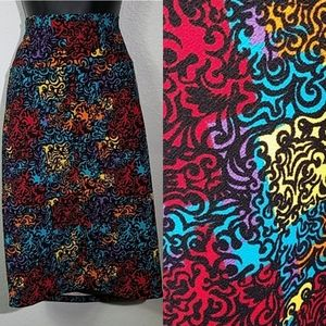 Lularoe Cassie Rainbow Color Block Swirl Skirt LG